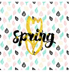 Spring fower handwritten card vector