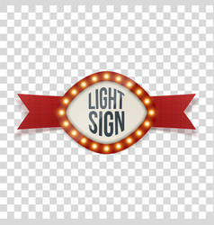 Light sign with lamps in realistic style vector