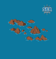 Brown reefs on a blue background pirate game vector