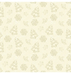 Seamless christmas pattern with tree and snowflake vector