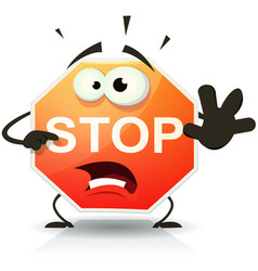 Stop road sign icon character vector