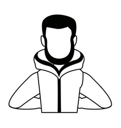 Portrait young man wearing winter clothes vector