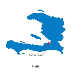 Detailed map of haiti and capital city vector