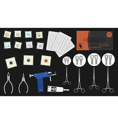Set of professional piercing equipment color vector