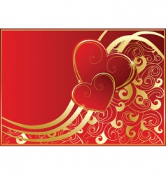 Abstract red card with hearts vector
