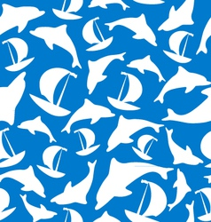 Texture of ships and dolphins vector