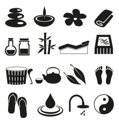 Spa and relaxation simple black icons set eps10 vector