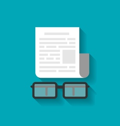 Paper business document and eyeglasses vector