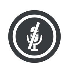 Round black muted microphone sign vector