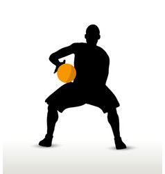 Basketball player silhouette in hold pose vector