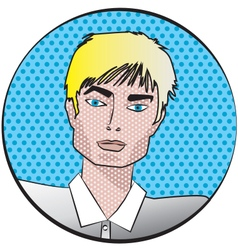 Male face in pop art style vector