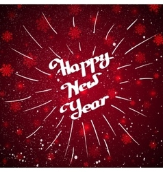 Hand-written happy new year with beam over red vector