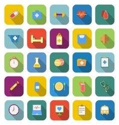 Health color icons with long shadow vector
