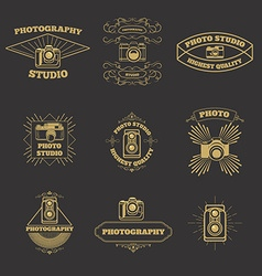 Set of vintage photo studio labels and emblems vector image