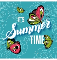 Summer time background with colorful butterflies vector