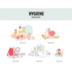 Hygiene elements groups vector