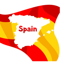 Background with flag and map of spain spanish vector