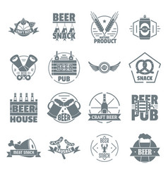 beer alcohol logo icons set simple style vector image vector image