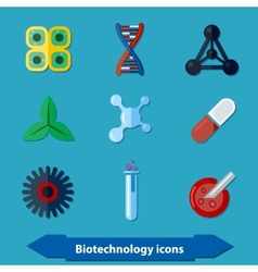 Biotechnology icons flat vector
