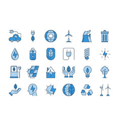 Blue outline eco icons vector