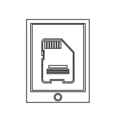 Cellphone with button and sd card on screen icon vector