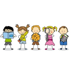 children with school objects vector image