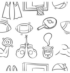 Collection of sport equipment sketch doodles vector
