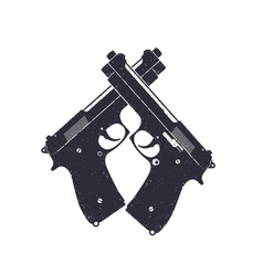 Crossed modern pistols guns on white vector