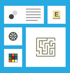 Flat icon play set of chequer labyrinth mahjong vector