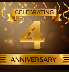 Four years anniversary celebration design vector