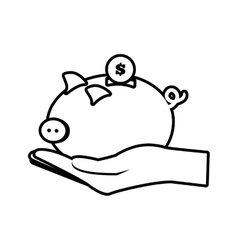 hand holding piggy coins money safe line vector image vector image