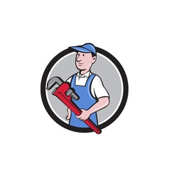 Handyman holding pipe wrench circle cartoon vector