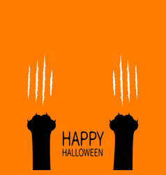 Happy halloween two black cat scratching paw leg vector