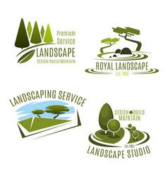 icons gardening landscape design company vector image vector image