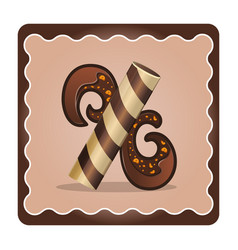 Letter x candies chocolate vector