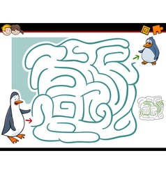 maze activity with penguins vector image