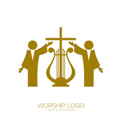 music logo christian symbols worshiping god vector image