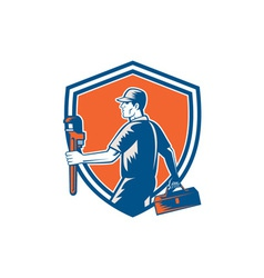 Plumber Carry Toolbox Wrench Shield Woodcut vector image