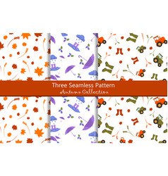 seamless pattern autumn collection vector image vector image