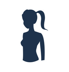 Silhouette sport girl fitness health vector