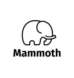 Trendy line style minimalistic mammoth logo vector