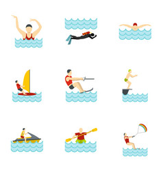 Water activities icons set flat style vector