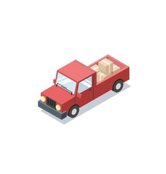 Isometric red wagon car with boxes minivan trucks vector
