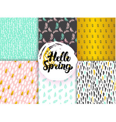 Spring funky seamless patterns vector