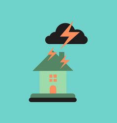 Flat icon on stylish background lightning house vector