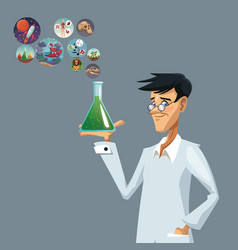 Realistic color poster closeup scientist with vector
