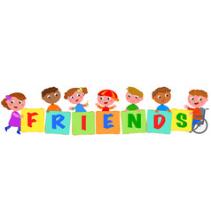 Kids holding colored friends sings vector