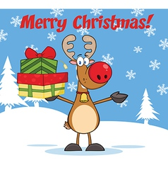 Reindeer christmas cartoon vector