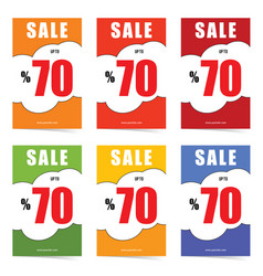 Poster of sale up to 70 percent set in color vector