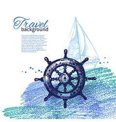 Travel vintage background sea nautical design vector